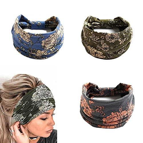 Yean Diademas de yoga bohemio, anchas, elásticas, para el pelo, color azul, accesorios para el cabello de flores para mujeres y niñas (paquete de 3) (envolturas para el cabello de yoga2)
