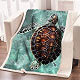Super Soft Sea Turtle Fleece Throw Blanket Super (50 x 60 Inches)