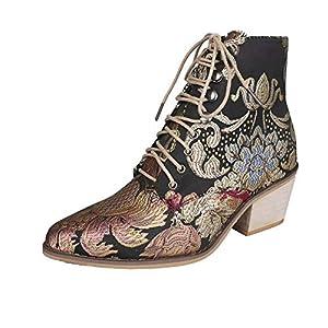 Botas de tobillo para mujer Bordado Colores Mezclados Flor Encaje Up Slip On Block Tacones Botas Weatern Botines | DeHippies.com