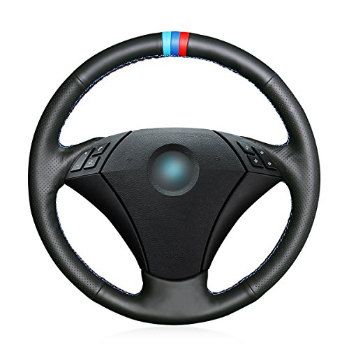 MEWANT Custom Breathable Black Genuine Leather Car Steering Wheel Cover for BMW 5 Series E60 E61 2004 2005 2006 2007 2008 2009 2010