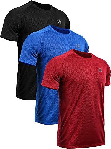 Neleus Men's 3 Pack Mesh Athletic Fitness Workout Shirts,5033,Black,Red,Blue,US L,EU XL
