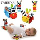 TREESTAR 4 Pz Neonato Baby Rattle Toys Baby Toy Calzini Polso Sonagli Sensoriale Bracciale...