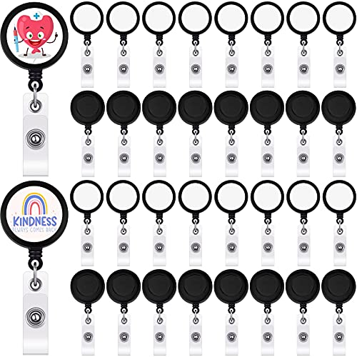 36 Pieces Sublimation Retractable Badge Holder Blank Sublimation Blanks Tag Holder DIY Retractable Heat Transfer ID Photo Badge Reel Blank Nurse Badge Key Card Name Tag Holder with Belt Clip, Black