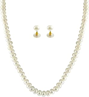 Sri Jagdamba Pearls Single Line White Pearl Set For Women