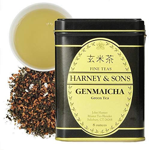 Harney & Sons Genmaicha Loose Leaf Green Tea, 8 Ounce tin, Japanese tea with brown rice kernals
