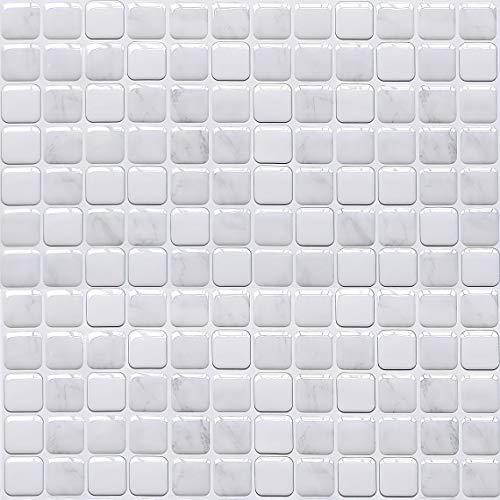 HyFanStr 3D Mosaic Tile Sticker for Bathroom, Peel and Stick Tile Backsplash for Kitchen, Stick On Wall Tile Splashback Pack of 4