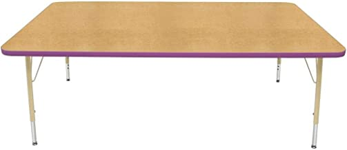 "product image for Creative Colors 42"" x 72"" Rectangle Table with Top Color: Maple, Edge Color: Purple, Leg Height: Standard 21""-30"", Glide Style: Self-Leveling Nickel"