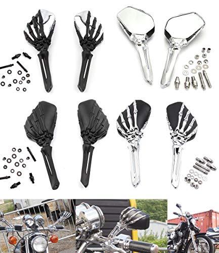 Motorrad Universal Seitenspiegel Schädel Skelett Spiegel Für Harley Touring Honda Schatten Yamaha V-Star Suzuki Intruder Volusia (Chrom Schwarz)