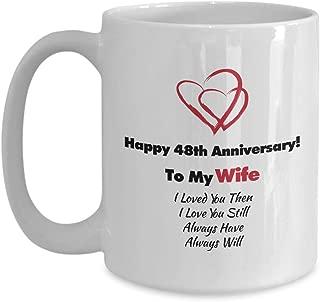 Happy 48th Anniversary Gift for Husband Wife - Modern Wedding Anniversary White Coffee Mug - Married 48 Years Hearts Theme