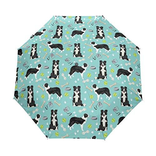 HLive Travel Umbrella Border Collie Dog Auto Open Compact Folding Sun & Rain Protection Umbrella with UV Protection Windproof