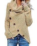 kenoce Jersey Mujer Jersey de Cuello Alto Mujer Jersey Grueso Pullover Jersey Jersey Dobladillo Asimétrico D-Albaricoque L