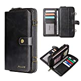 for LG Stylo 6 Wallet Case with 12 Card Slot Magnetic Leather Detachable Cover with Strap Flip Pouch Shockproof Case (Black, LG Stylo 6)