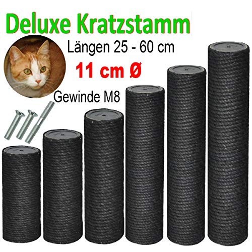 nanook Kratzstamm/Sisalsäule/Ersatzstamm für Kratzbäume - Ø 11 cm, Gewinde M8 - schwarz - Länge 40 cm - inkl. 3 Befestigungsschrauben