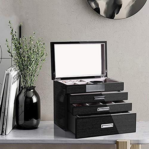 Joyero Cajas para Caja De Joyería Caja De Joyería De Viajes Estilo Europeo Boda Joyería De Gran Capacidad Joyería Y Cosméticos Caja De Almacenamiento Integrado ( Color : Black , Size : 25*16*21cm )