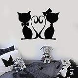 yaonuli Kätzchen Katze Paar Wandaufkleber Liebe Tierhandlung Wandbild Vinyl Aufkleber romantische Schlafzimmer Wohnkultur 57X41cm