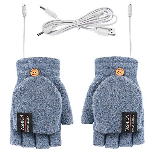 Rehomy Guantes de invierno cálidos y de punto para calentar por USB, para hombres y mujeres, de dedo completo y medio para uso en interiores o exteriores