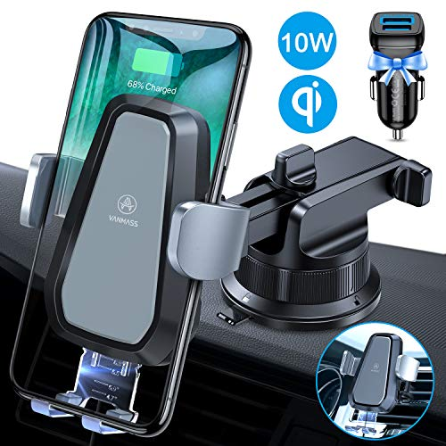 VANMASS Wireless Car Charger Mount, Automatic Clamping, 10W Qi Fast Charging, QC 3.0 Car Charger,...
