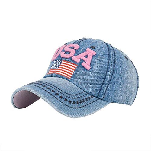 Amlaiworld_Gorras Gorras de Beisbol Hombre Mujer Gorra de béisbol USA Rhinestone Denim Viseras Gorra de Golf Sombrero Plano de Hip Hop Snapback Niños niñas