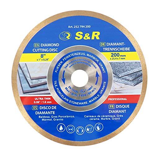 S&R Diamanttrennscheibe 200 x 25,4 x 7 mm (1,6 mm extra dünn), Trennscheibe für sauberes Trennen von Fliesen, Porzellan, Keramik, Feinsteinzeug, Granit, Marmor, für Tischsäge, Fliesenschneidmaschine