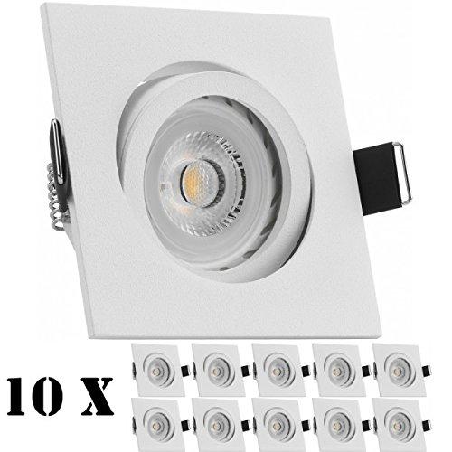 10er LED Einbaustrahler Set Weiß matt mit LED GU10 Markenstrahler von LEDANDO - 7W - warmweiss - 30° Abstrahlwinkel - schwenkbar - 50W Ersatz - A+ - LED Spot 7 Watt - Einbauleuchte LED eckig