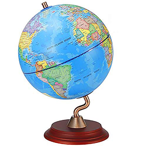 "World Globes with Wooden Stand for Kids - Size 8"" Educational World Globe with Stand Adults Desk Geographic Globes Discovery World Globe Educational Toy - Geography Learning Toy"