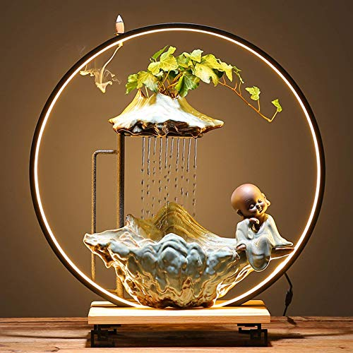 N/Z Equipo Diario Fuente de Agua de Mesa Zen con luz LED Iluminación Interior Fuente de Cascada Característica de Agua para la Oficina en casa Feng Shui Buda Ornamental 1 21.5 Pulgadas