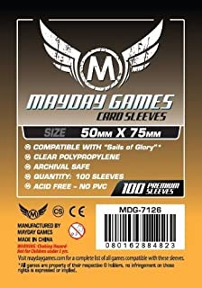 100 Mayday 50 x 75 Custom Card Sleeves Sails of Glory Board Game by Mayday Games