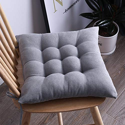 No/Brand Soft Chair Pads for Dining Chairs Solid Color Square Seat Cushion for Office Chair, Non Skid Kitchen Chair Cushions (Gray, 17x17 inches)