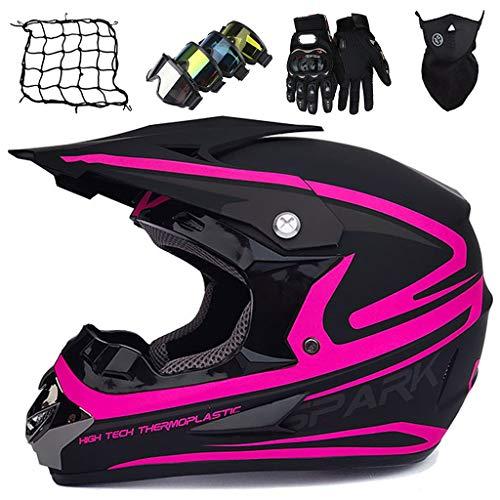 Kids Motocross Helmet, Adult Full Face Helmet with Goggles/Mask/Gloves/Elastic Net, Boys and Girls Motorbike Helmet for Downhill Offroad Enduro Quad Bike ATV Go-Kart, Black Pink