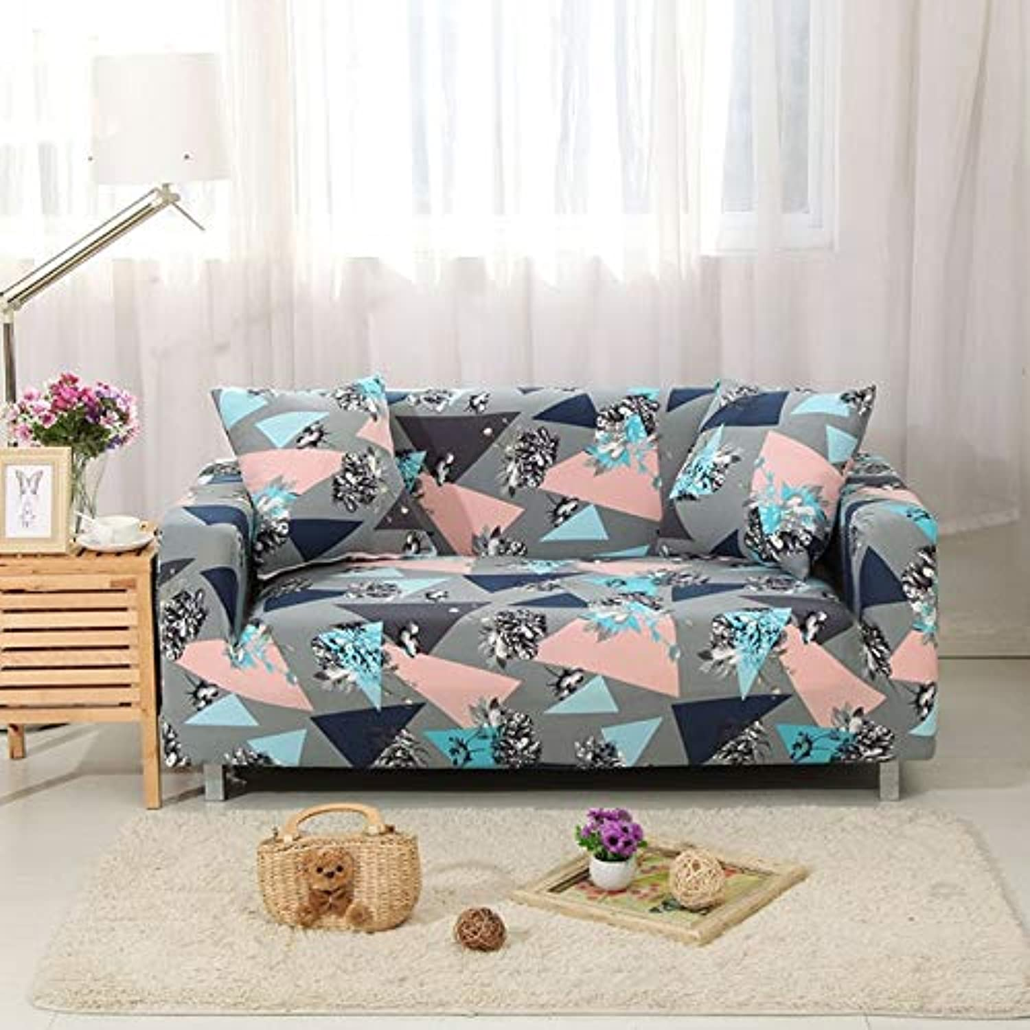 European Elegant Printing Sofa Cover Tight Wrap All-Inclusive Sectional Elastic Seat Couch Covers Slipcovers 1PC   color 13, 2seater 145-185cm