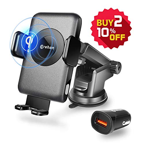 Qi Wireless Charger Car Mount - Corehan Automatic Clamping Car Fast Wireless Charger with Air Vent Phone Holder Dashboard Cell Phone Holder & Car Charger, Compatible with iPhone Galaxy Phone