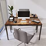 """Oneinmil Computer Desk 55"""", Sturdy Office Home Study Writing Table, Heavy Duty for 200 Lbs, with Thick Metal Leg, Simple Industrial Style Mid-Century Retro for Dual Two Monitors, Rustic Vintage Brown"""