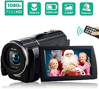 ビデオカメラ デジタルビデオカメラ 高感度・高画素 ビデオカメラ2400万画素 HD1080P 16倍デジタルズーム 3インチ液晶ディスプレイ 270度回転スクリーン 手ブレ補正 37MMレンズ搭載可 フィルライト付き リモコン付き 1年間の保証付き