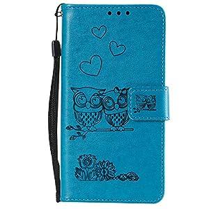 Docrax Handyhülle Lederhülle für Galaxy A50 Flip Case Schutzhülle Hülle mit Standfunktion Kartenfach Magnet Brieftasche für Samsung Galaxy A50 – DOHHA100413 Blau