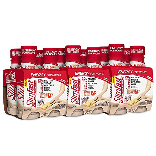 SlimFast Advanced Energy Vanilla Shake – Ready to Drink Meal Replacement – 20g of Protein – 11 fl oz Bottle – 12 Count