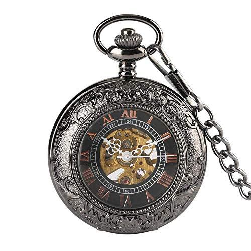 Reloj de Bolsillo Reloj de Bolsillo mecánico Negro Antiguo Reloj de Cuerda Manual con números Romanos Esfera Hueca Reloj Colgante Retro Cadena para Hombres Regalos