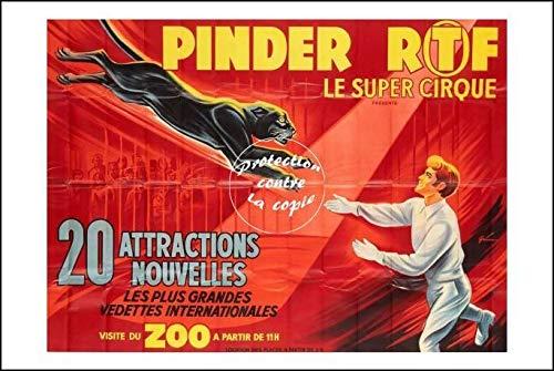 Herbé ™ Poster 40x60cm* d1 Affiche Vintage/Ancienne Circus/Cirque PINDER PANTHèRE N