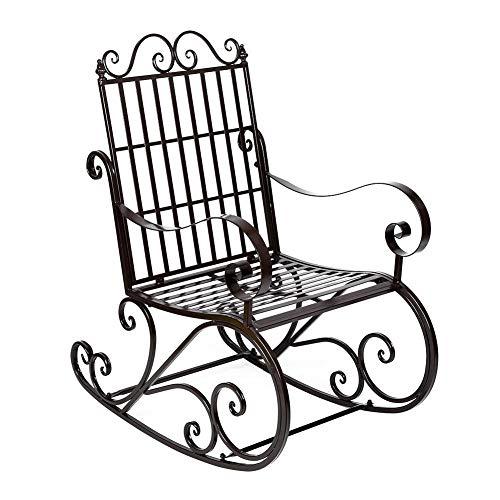 TAKE FANS Silla Mecedora de Hierro, Silla Mecedora de Hierro Antigua Asiento del Porche del Patio para Muebles de jardín al Aire Libre