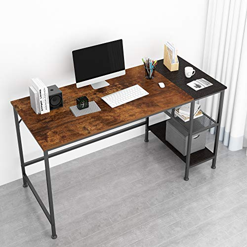 JOISCOPE Computer Desk with Shelves,Laptop Table with Grid Drawer,55 inches(Vintage Oak Finish)