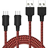 Cable Micro USB [2-Pack, 2M] Yosou Cable Android de Nylon Cargador Micro USB Carga USB Compatible con Dispositivos Android, Samsung Galaxy, Sony, Nokia, HTC, Kindle, Nexus, LG y más - Rojo
