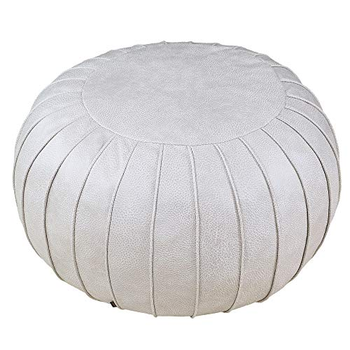 RAJRANG BRINGING RAJASTHAN TO YOU Soft Pure Cotton Pouf for Kid 16 x 11 Inches Braid Cord Stitched Round Footstool Decorative Nursery Ottoman Perfect Patio Seating for Kids Charcoal Grey