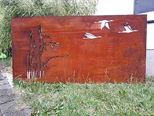 Zen Man Edelrost Garten Sichtschutz Metall 1mm Sichtschutzwand Rost Sichtschutzwand 032005-1 H75 * L150cm Handarbeit
