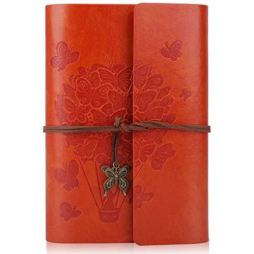 Leder-Notizbuch – Leder-Tagebuch mit Spiralbindung, nachfüllbares Notizbuch mit liniertem Papier