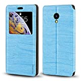Meizu A5 Case, Wood Grain Leather Case with Card Holder and