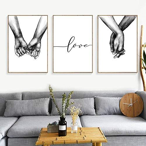quadri moderni soggiorno love Nordic Poster Tenersi per Mano in Bianco e Nero 3 Pezzi Stampe su Tela Amante Quadri Immagini per Soggiorno Decorazioni per la Camera da Letto Senza Cornice