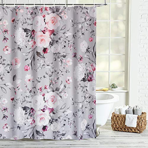 """HAOCOO Floral Fabric Shower Curtain Gray and Pink Flowers Shower Curtains with Hooks Waterproof Heavy Blossom Rose Shower Curtain Sets Modern Bathroom Accessories Decorative, 72"""" X 72"""""""