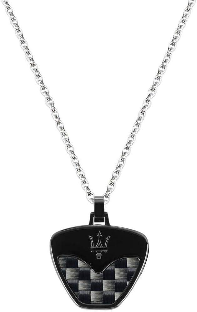 Maserati collezione jewels collana da uomo in acciaio e fibra di carbonio JM217AJF33