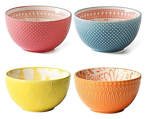 HGYGY Cereal bowl, 4PC healthy and environmentally friendly ceramic bowl, capacity 300ml, exquisite and unique artistic style bowl set, suitable for oatmeal, salad, dessert, four-piece porcelain