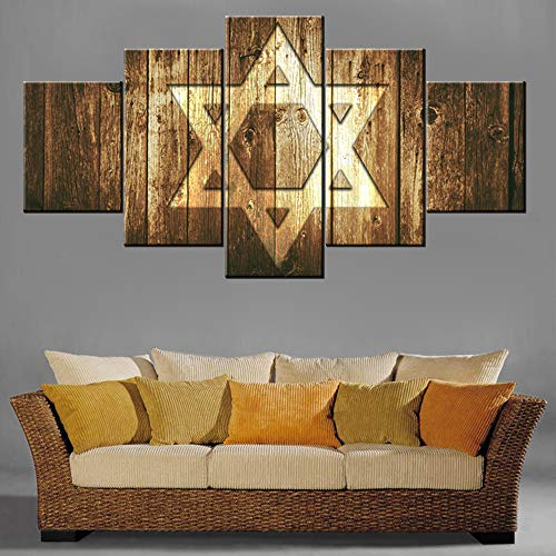 TUMOVO Rustic Home Decor Star of David Pictures for Living Room Judaism Paintings 5 Panel Canvas Ethnic Religion Wall Art Contemporary Artwork Giclee Framed Gallery-Wrapped Ready to Hang(60''Wx32''H)