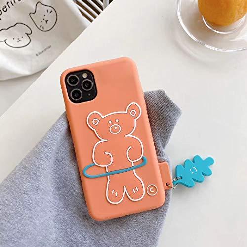 SevenPanda für iPhone 12 Pro Max Hülle Kawaii, 3D Karikatur Kleiner Bär Hula Hoop mit Niedlichen Gleiches Silikon Weiches Kasten Abdeckung für iPhone 12 Pro Max 6.7 Zoll - Orange